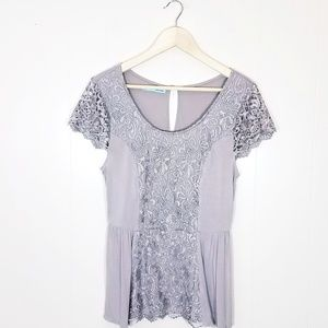 Maurices Cap Sleeve Lace Peplum Blouse